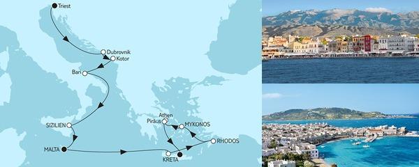 Routenverlauf Adria mit Sizilien & Griechenland II am 13.10.2019