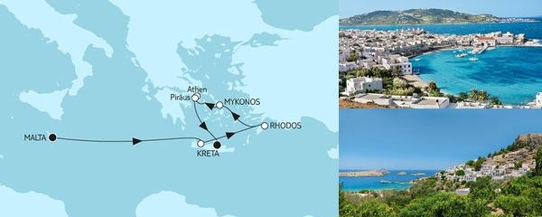 Routenverlauf Malta bis Kreta am 20.10.2019
