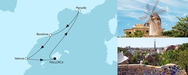 Routenverlauf Kurzreise mit Marseille & Barcelona am 24.09.2019