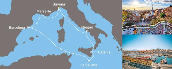 Routenverlauf Costa Traumhafte Fahrt im Mittelmeer