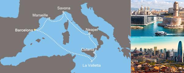 7 Tage Traumhafte Fahrt im Mittelmeer mit der Costa Fascinosa