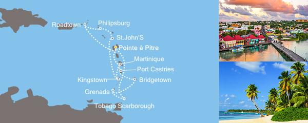 Routenverlauf Bezaubernde Kleine Antillen und die Magie der Karibik am 22.02.2019