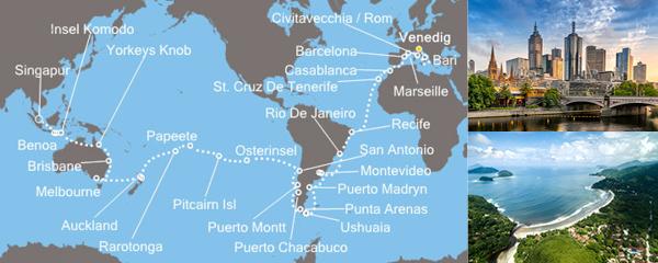Routenverlauf Weltreise 2019: Unterwegs zwischen den Wendekreisen 1. & 2. Etappe am 05.01.2019