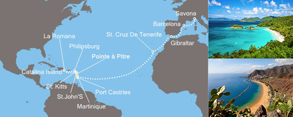 Routenverlauf Karibisches Meer am 23.03.2019