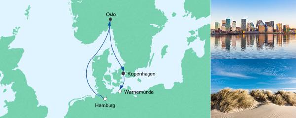Routenverlauf Kurzreise von Hamburg nach Warnemünde am 01.05.2020