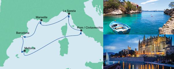 Routenverlauf Mediterrane Schätze ab Barcelona am 16.10.2020