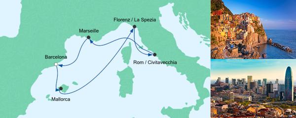 Routenverlauf Mediterrane Schätze ab Barcelona am 26.07.2019
