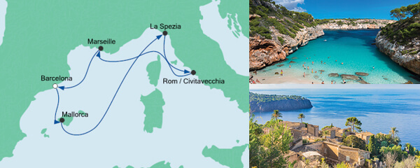 Routenverlauf Mediterrane Schätze ab Barcelona am 10.04.2020