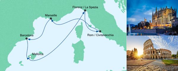 Routenverlauf Mediterrane Schätze ab Mallorca am 17.08.2019