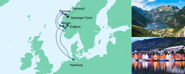 Routenverlauf Norwegens Fjorde 4 am 06.09.2019