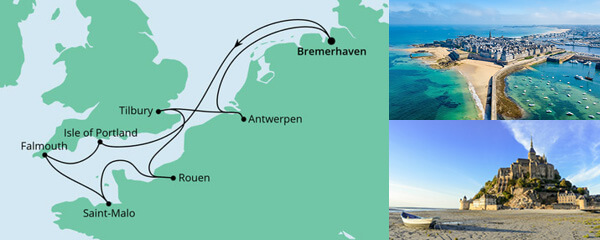AIDA Spezialangebot Frankreich, Belgien & Großbritannien 2