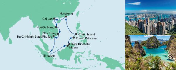 Routenverlauf Philippinen, Hongkong & Vietnam am 22.12.2019