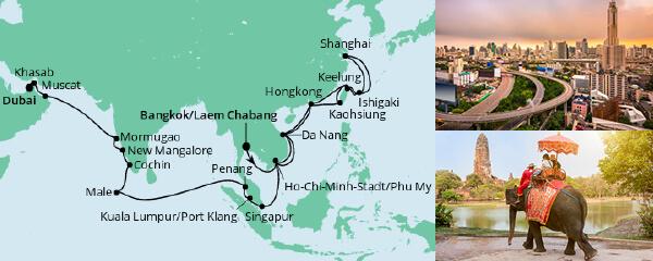Routenverlauf Weltenbummler von Bangkok nach Dubai am 02.03.2020