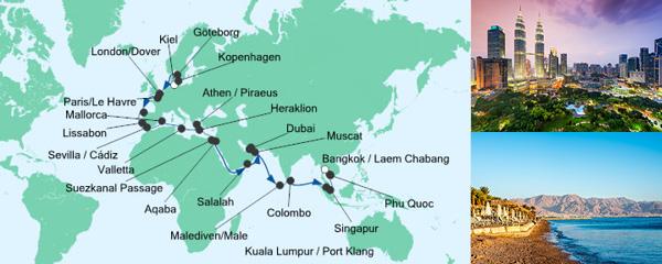 Routenverlauf Weltenbummler von Kiel nach Bangkok am 03.10.2019