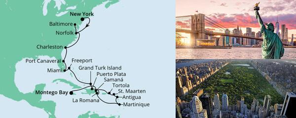 Routenverlauf Von New York nach Jamaika 3 am 24.10.2020