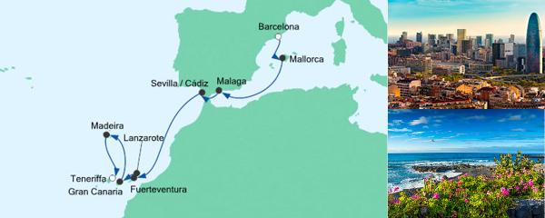 Routenverlauf Von Barcelona nach Teneriffa am 29.10.2021