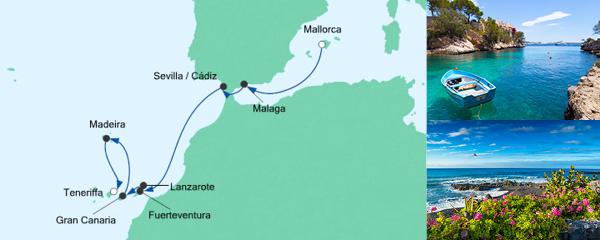Routenverlauf Von Mallorca nach Teneriffa am 30.10.2021