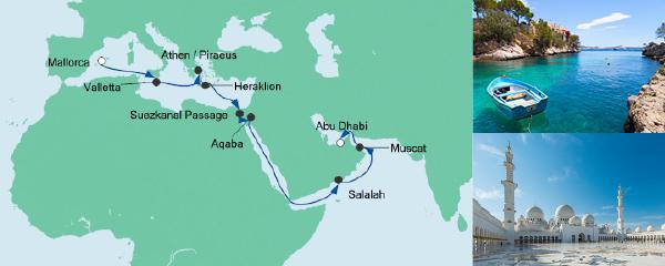 Routenverlauf Von Mallorca nach Abu Dhabi 3 am 25.10.2019