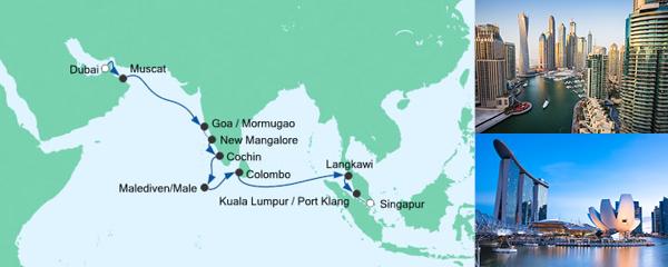Mein Schiff Special EURESAreisen Von Dubai nach Singapur 2