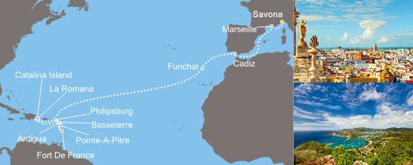 Routenverlauf Karibisches Meer am 30.11.2018