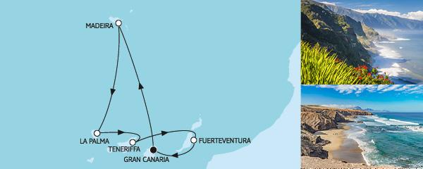 Routenverlauf Kanaren mit Madeira am 15.12.2019