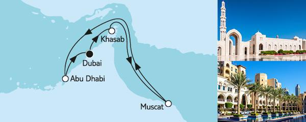 Routenverlauf Dubai mit Oman am 23.12.2019