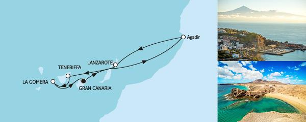 Routenverlauf Kanaren mit Lanzarote am 05.01.2020