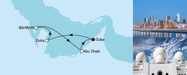 Routenverlauf Dubai mit Katar am 02.12.2019