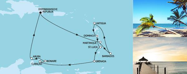 Routenverlauf Karibische Inseln I am 03.01.2020