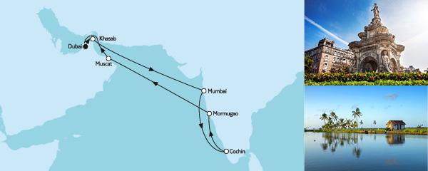Routenverlauf Dubai mit Indien am 10.02.2020