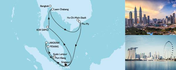 Routenverlauf Asien mit Singapur am 05.02.2020
