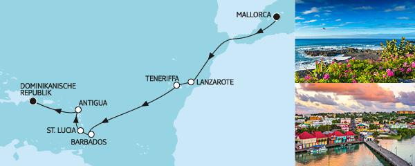Routenverlauf Mallorca bis Dominikanische Republik am 25.10.2019