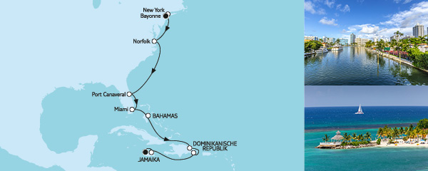 13 Tage New York bis Jamaika mit der Mein Schiff 1