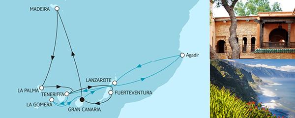 Routenverlauf Kanaren mit Madeira & Lanzarote am 05.01.2020