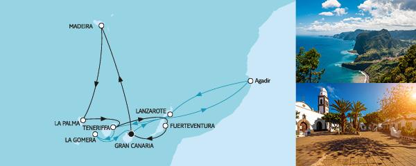 Routenverlauf Kanaren mit Madeira & Lanzarote am 23.02.2020