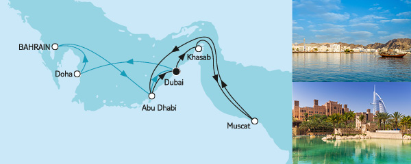 Routenverlauf Dubai mit Katar & Oman am 09.12.2019