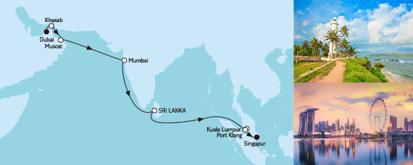 Routenverlauf Dubai bis Singapur am 12.11.2019