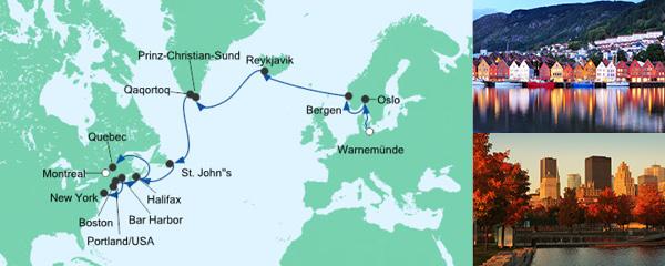 Routenverlauf Meergeniesser ab Warnemünde nach Montreal am 05.09.2019