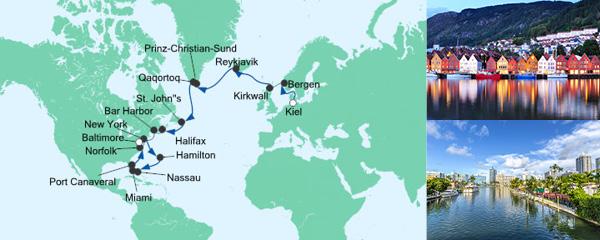 Routenverlauf Meergenießer von Kiel nach New York am 28.08.2019