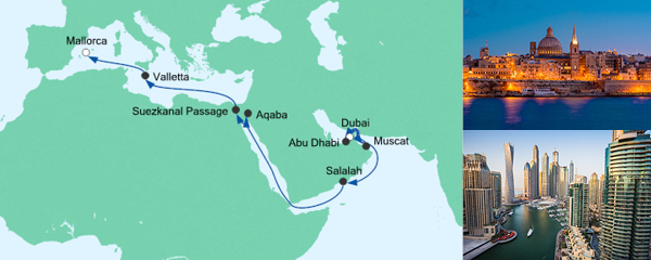 AIDA Angebot Von Dubai nach Mallorca