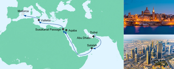 AIDA VARIO Kurzfristverkauf Von Abu Dhabi nach Mallorca