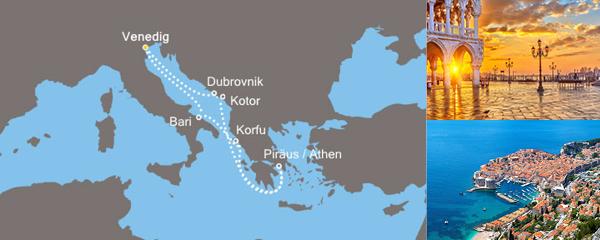 Routenverlauf Costa Blaue Adria und bezaubernde Inseln