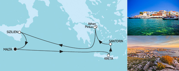 Routenverlauf Mittelmeer mit Griechenland I am 19.08.2019