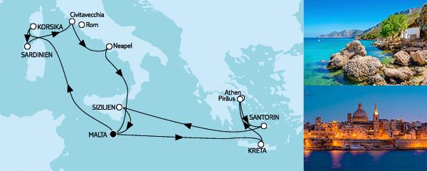 Routenverlauf Mittelmeer mit Italien & Griechenland III am 01.07.2019