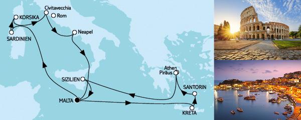 Routenverlauf Mittelmeer mit Italien & Griechenland II am 19.08.2019
