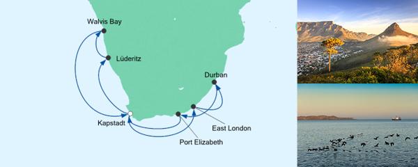 Routenverlauf Südafrika & Namibia 2 am 07.12.2020