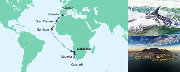 Routenverlauf Von Mallorca nach Kapstadt am 04.12.2019