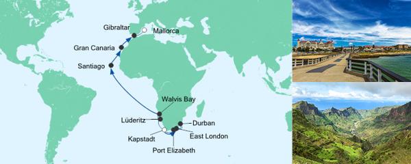 Routenverlauf Von Kapstadt nach Mallorca am 30.03.2020