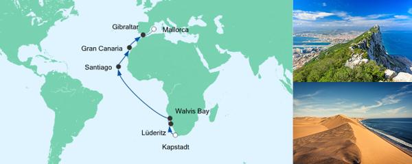 AIDA Pauschal Angebot Von Kapstadt nach Mallorca 2