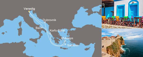 Routenverlauf Costa Abstecher zu den griechischen Inseln